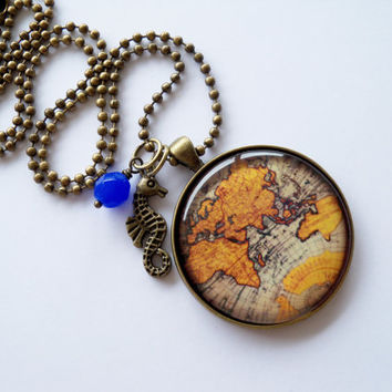 Large Globe Necklace - Map Pendant Necklace - World Map - Ancient Map - Travel Necklace - You Choose Bead and Charm - Customizable
