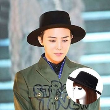 XEONGKVI Korean Straight Side Top Fedoras Hat Autumn Winter Felt Vintage Gentleman Bucket Hat For Women Men Brand Bowknot Eaves