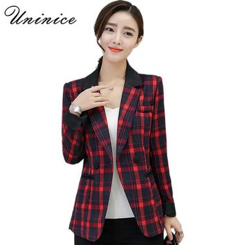 2017 New Plaid Blazers Women Jackets Blazer Red/Green Graceful Coat Women Blazer One Button Outerwear Blazer Women's Clothing
