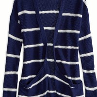 AEO Factory Women's Striped Waffle Pocket Cardigan (Evening Blue)