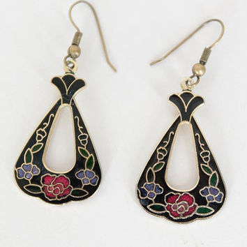 SALE Vintage 80s Earrings / 1980s Black Floral Cloisonne Enamel Teardrop Earrings