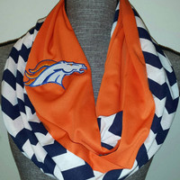 Denver Broncos Infinity Scarf blue chevron print team colors tailgate accessories loop scarf NFL Infinity Scarf Broncos Embroidered Logo