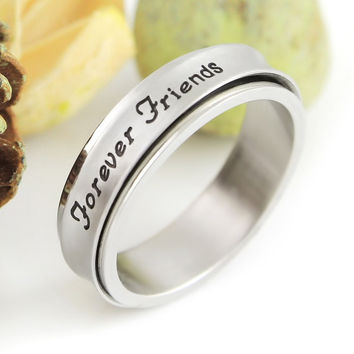 "Friend Ring Spinner Ring Engraved with ""Forever Friends"" Spin Ring"