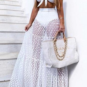 White High Waist Polka Dot Print Sheer Mesh Maxi Skirt
