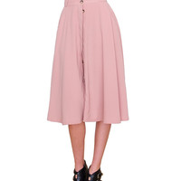 Audrey Flare Midi Skirt - Pink