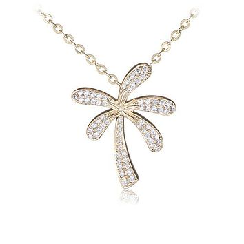 Palm Tree Sterling Silver Pendant Yellow Gold Plated Pave Cubic Zirconia(Chain Sold Separately)