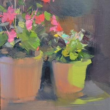 Pink Painting - Floral Painting - Pink Lime Canvas Art Oil Painting - Modern Painting Still Life by Yuri Pysar