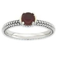Sterling Silver & 14k Red Agate Antiqued Ring