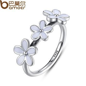 8 100% 925 Sterling Silver Darling Daisies Stackable Ring for Women Wedding White Enam