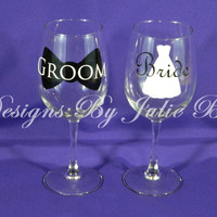 Bride and groom toasting wine glass set for the perfect wedding! Free date added to base! Bride & Groom CUSTOMIZED weddings