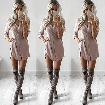 Fashion Women Loose Long Sleeve V Neck Camel Black Chiffon Button Long Sleeve Casual Blouse-Style Dress  Shirt Tops New Fashion