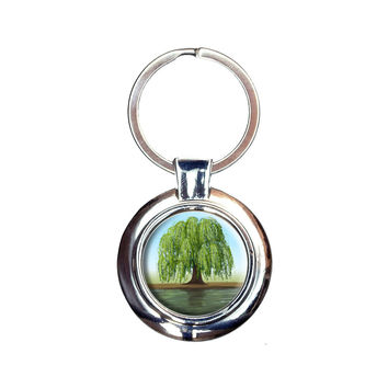 Old Weeping Willow Tree Keychain