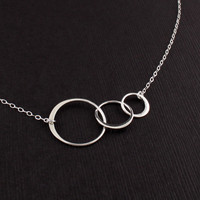 Mother Son Daughter Necklace Sterling Silver Circle Triple Inter - Vivian Feiler Designs | Wedding