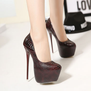 2016 New Hot Ladies Sexy Thin High Heels Snakeskin Pumps Casual Female Round Toe Platform Single Shoes Women Wedding Party Shoes