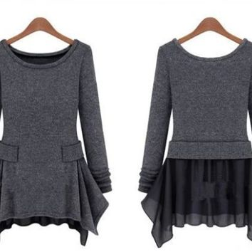 Long Sleeve Knitted Grey Dress