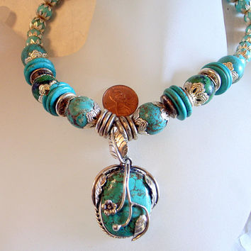 Turquoise And Sterling Necklace - OOAK  - Big Genuine Turquoise Pendant Necklace Set In Sterling Silver