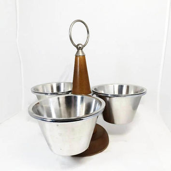 Mid Century Condiment Server, Stainless Steel Cups, Stako Sweden, MCM Scandinavian, Rotating Tableware, Lazy Susan, Retro Kitchen Caddy