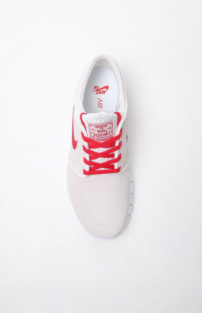 Nike SB Janoski Max Leather Shoes - Mens Shoes - White Red 128236fab