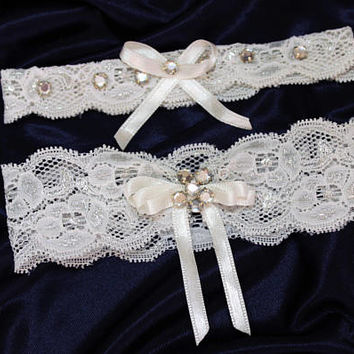 Handmade white crystal pearl wedding garter set, gray and white stretch lace garter, plus size garter rhinestone crystal bridal toss garters