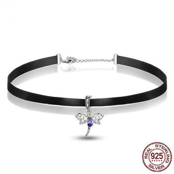 925 Sterling Silver Cute Dragonfly Pendant Black Choker Necklace
