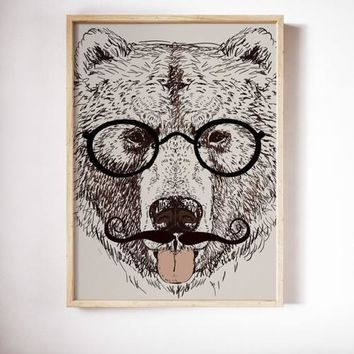 Bear Poster Art Print Canvas Animal Painting Wall