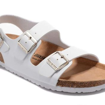 Birkenstock Milano Sandals Couples Slippers - Patent White