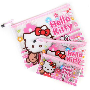 M55 1X Hello Kitty File Holder Cosmetic Makeup Bag Pencil Case Student Stationery Storage Container Phone Bag