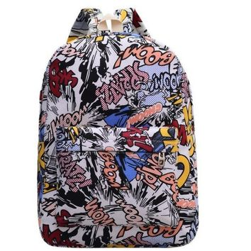 Student Backpack Children Perilla 2018 Women College Wind New Canvas Doodle Design Shoulder Bag Large capacity student Backpack Cartoon Travel Bags AT_49_3