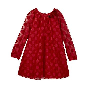 Pippa & Julie – Red Long Sleeve Illusion Dot Layer Dress (Toddler & Little Girls)