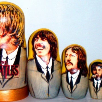 Beatles matreshka traditional russian nesting doll made curved painted by handdecorative collectible wood linden birch holiday birthday gift