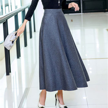 High Waist A-Line Wool Skirt