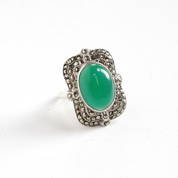 Vintage Art Deco Sterling Silver Chrysoprase & Marcasite Ring - 1930s Size 6 Statement Green Gemstone Shield Jewelry