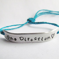 Bracelet SINGLE Custom Hand Stamped Jewelry One Direction Inspired Tie On Hemp or Cotton Cord SKINNY Style