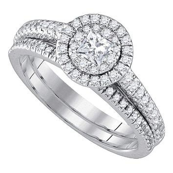 14kt White Gold Women's Princess Diamond Halo Bridal Wedding Engagement Ring Band Set 3/4 Cttw - FREE Shipping (US/CAN)