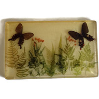 Vintage Opaque Lucite Resin Trivet with Nature Scene, Butterflies, Ferns and Flowers, Large Rectangular, Hot Plate, 1970's, Retro Kitchen