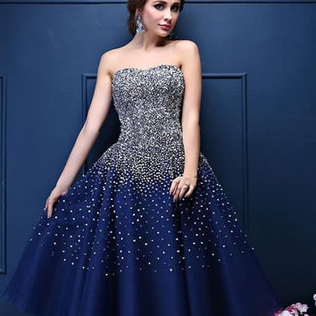 Navy Blue Short Cocktail Dresses 2017 Bling Sequins Beading Tea Length A-Line Satin Party Prom Gowns Elegant Charming Dresses