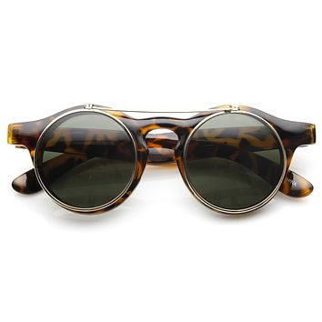 Vintage Steampunk Clear Lens Flip Up Round Sunglasses 8822