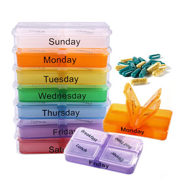 7 Days Pill Box Newest Medicine  Storage Tablet Sorter Box Container Weekly Pill Case Organizer Pill Cases & Splitters