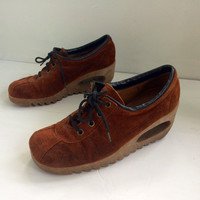 Vintage 70s Shoes Suede Leather Hipster Famolare Style Normcore Rust Wedge 7
