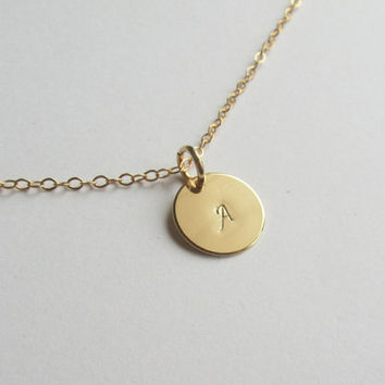 Gold or Silver Initial Necklace-Sterling SIlver or 14K Gold Filled Chain, 12mm round pendant -monogram necklace- Bridesmaids Necklace