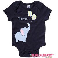 Personalized Boys or Girls Elephant Balloons Newborn Birthday Baby Infant T shirt Lots of Colors - Birthday Party Baby Shower