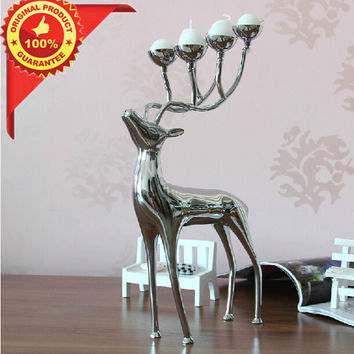 Spotted Deer Stainless Steel Candlestick Candelabra Candle Holders
