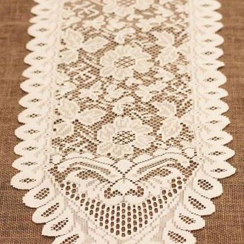 "Floral Lace Table Runner in Ivory13"" x 96"""