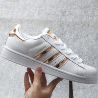 """Adidas"" Fashion Shell-toe Flats Sneakers Sport Shoes White Golden"