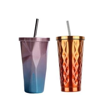 PREUP 473ml Stainless Steel Tea Coffee Water Cup Creative Diamond Shaped Design With Lid Straw 2 Colors Drinkware Novelty Gifts