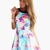 Floral Print Halter Strap Back Skater Mini Dress