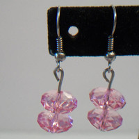 Pink Faceted Bead Drop Earrings Beaded Jewelry Fashion Accessories For Her