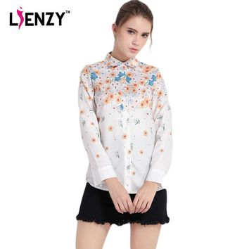 2016 NEW Arrivals Casual Women Shirts Sweet Fresh Floral Print Long Sleeve Polo Neck W