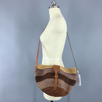 Vintage Sisal Bag / Vintage Crossbody Purse / Market Tote / Purple Brown Leather / KENYA