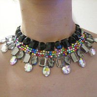 Black and Grey Collar Necklace, Rhinestone Statement, Fantasy Necklace, Rainbow, Jewel, Detail, Gray Necklace, Sparkly, Formal Necklace
